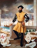 Ferdinand Magellan c. 1480– April 27, 1521) was a Portuguese  explorer. He was born at Sabrosa, in northern Portugal, but later obtained Spanish nationality in order to serve King Charles I of Spain in search of a westward route to the Spice Islands (modern Maluku Islands in Indonesia). Magellan's expedition of 1519–1522 became the first expedition to sail from the Atlantic Ocean into the Pacific Ocean and the first to cross the Pacific. It also completed the first circumnavigation of the Globe, although Magellan himself did not complete the entire voyage, being killed during the Battle of Mactan in the Philippines.