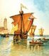 On the evening of 3 August 1492, Columbus departed from Palos de la Frontera with three ships, including one larger carrack, the Santa María, nicknamed Gallega  (the Galician), and two smaller caravels, Pinta (the Painted) and Santa Clara.